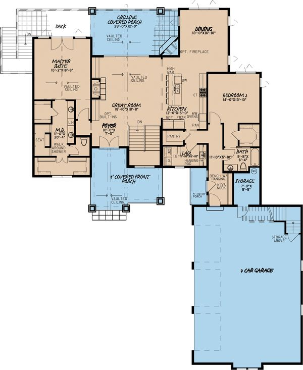 Architectural House Design - Traditional Floor Plan - Main Floor Plan #923-11