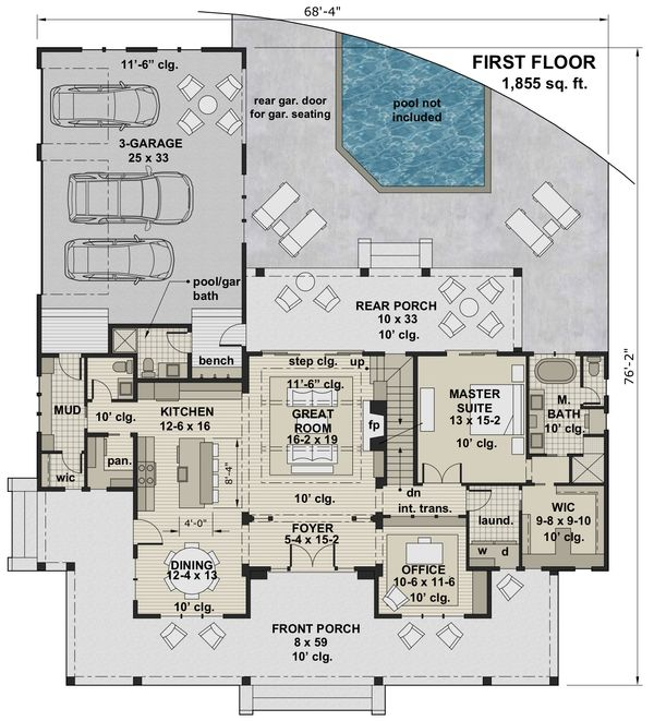 Farmhouse Floor Plan - Main Floor Plan Plan #51-1150