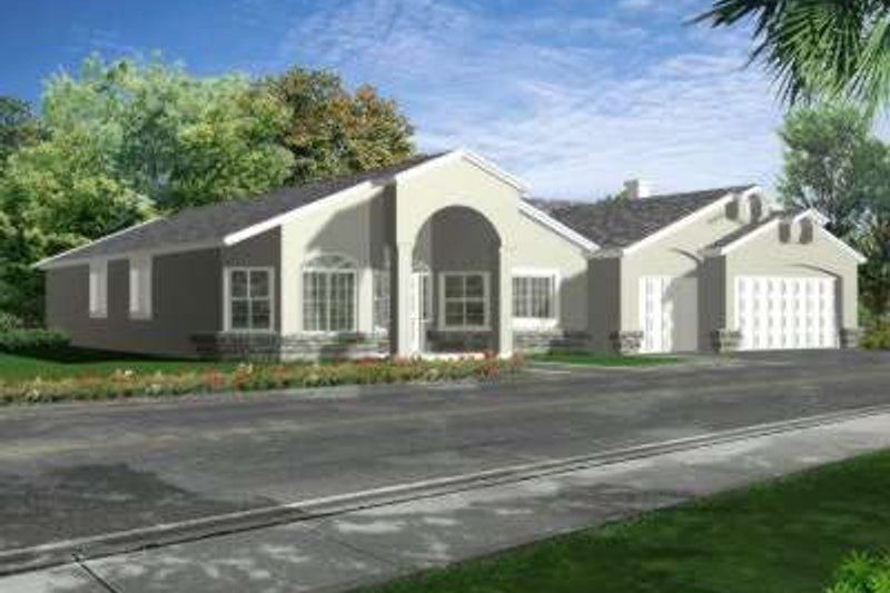 Adobe / Southwestern Style House Plan - 4 Beds 3 Baths 2716 Sq/Ft Plan #1-660 Exterior - Front Elevation