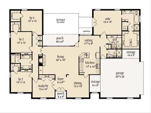 European Floor Plan - Main Floor Plan Plan #36-442