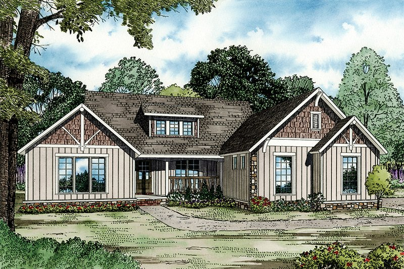 Farmhouse Style House Plan - 4 Beds 4 Baths 3016 Sq/Ft Plan #17-2311 Exterior - Front Elevation