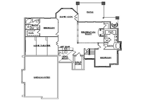 Traditional Floor Plan - Lower Floor Plan Plan #5-302