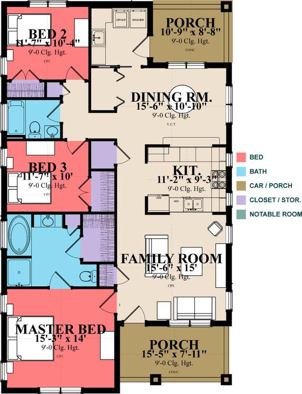 Craftsman Floor Plan - Main Floor Plan Plan #63-386