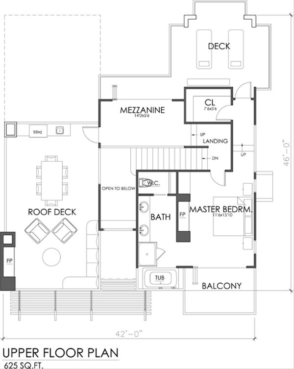 Modern Floor Plan - Upper Floor Plan Plan #484-2