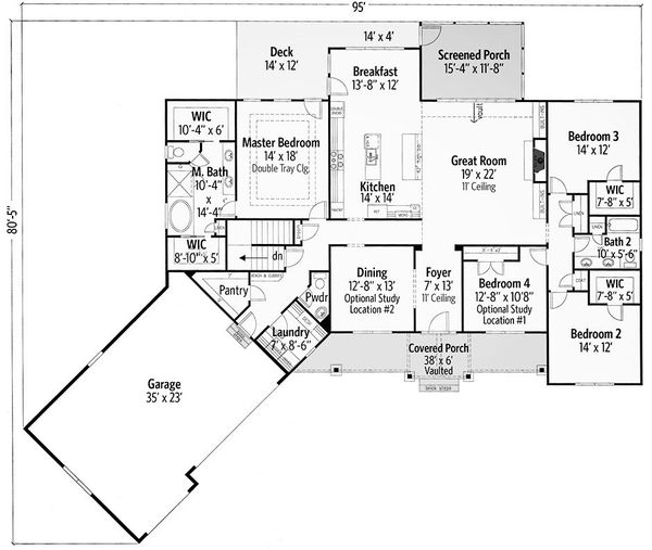 Craftsman Floor Plan - Main Floor Plan Plan #437-87