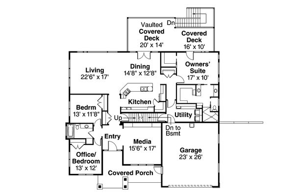 Craftsman Floor Plan - Main Floor Plan Plan #124-1002