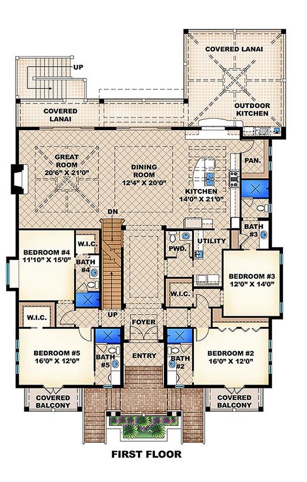 Beach Floor Plan - Upper Floor Plan Plan #27-456