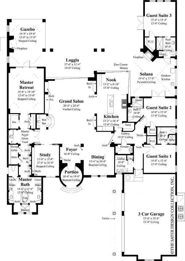 Mediterranean Floor Plan - Main Floor Plan Plan #930-13