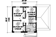 Contemporary Style House Plan - 3 Beds 1 Baths 1252 Sq/Ft Plan #25-4509 Floor Plan - Upper Floor Plan