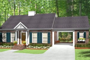 House Plan Design - Southern Exterior - Front Elevation Plan #406-9619
