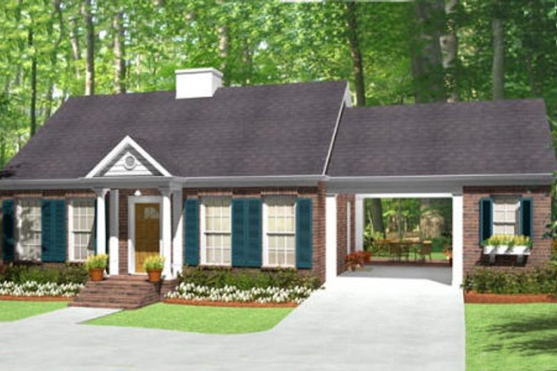 Southern Exterior - Front Elevation Plan #406-9619