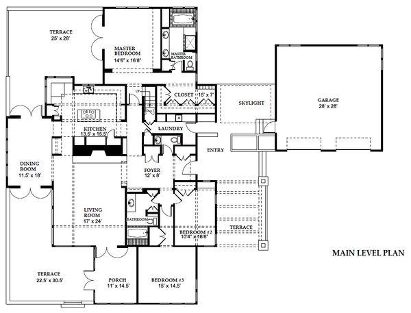Prairie Style House Plan - 3 Beds 2.5 Baths 3600 Sq/Ft Plan #454-11 Floor Plan - Main Floor Plan