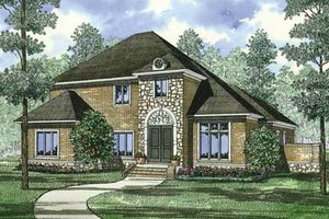 European Exterior - Front Elevation Plan #17-2305