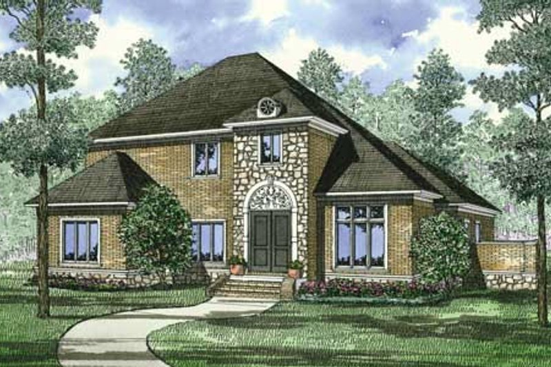 European Style House Plan - 5 Beds 4 Baths 3578 Sq/Ft Plan #17-2305 Exterior - Front Elevation