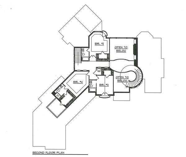 House Plan Design - Upper Level Floor Plan - 7000 square foot European home