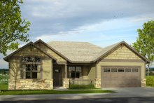 Ranch Exterior - Front Elevation Plan #124-1001
