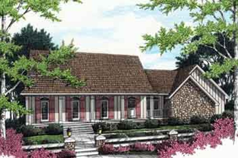 Southern Exterior - Front Elevation Plan #45-239