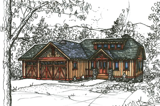 Craftsman Exterior - Front Elevation Plan #921-22