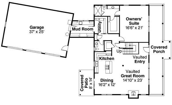 Country Floor Plan - Main Floor Plan Plan #124-771