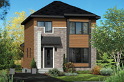 Contemporary Style House Plan - 3 Beds 1 Baths 1291 Sq/Ft Plan #25-4583 Exterior - Front Elevation