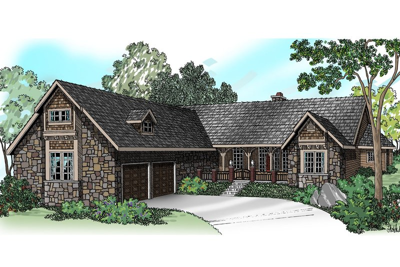 Ranch Style House Plan - 4 Beds 2.5 Baths 3072 Sq/Ft Plan #124-383 Exterior - Front Elevation