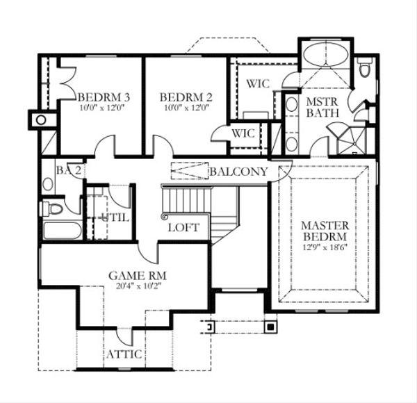 Traditional Floor Plan - Upper Floor Plan #80-147