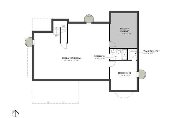 Traditional Floor Plan - Lower Floor Plan Plan #933-3