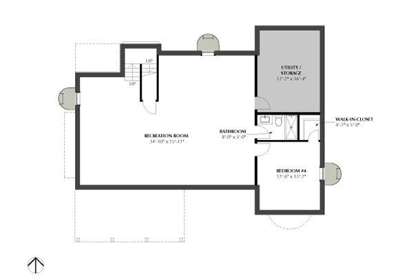 Traditional Floor Plan - Lower Floor Plan Plan #933-3