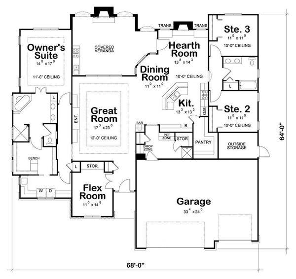 Craftsman Floor Plan - Main Floor Plan Plan #20-2199