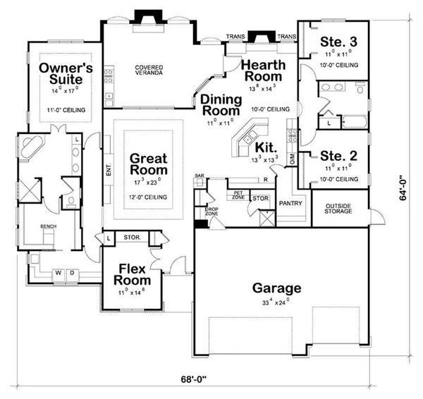 Craftsman Floor Plan - Main Floor Plan #20-2199