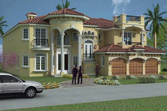 Mediterranean Exterior - Front Elevation Plan #420-191