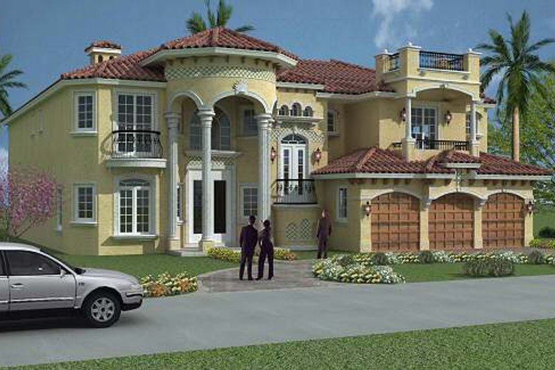 Mediterranean Style House Plan - 6 Beds 7.5 Baths 6664 Sq/Ft Plan #420-191 Exterior - Front Elevation