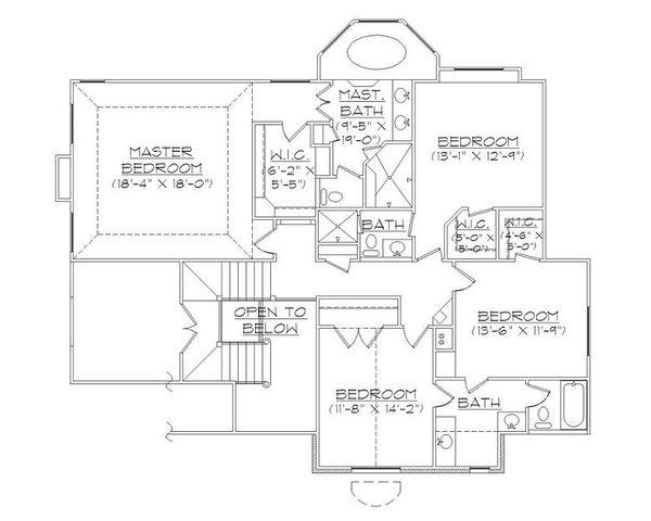 European Floor Plan - Upper Floor Plan Plan #5-402