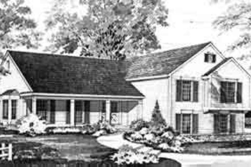 House Blueprint - Colonial Exterior - Front Elevation Plan #72-449
