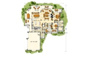 Log Style House Plan - 3 Beds 3.5 Baths 4100 Sq/Ft Plan #942-43 Floor Plan - Main Floor