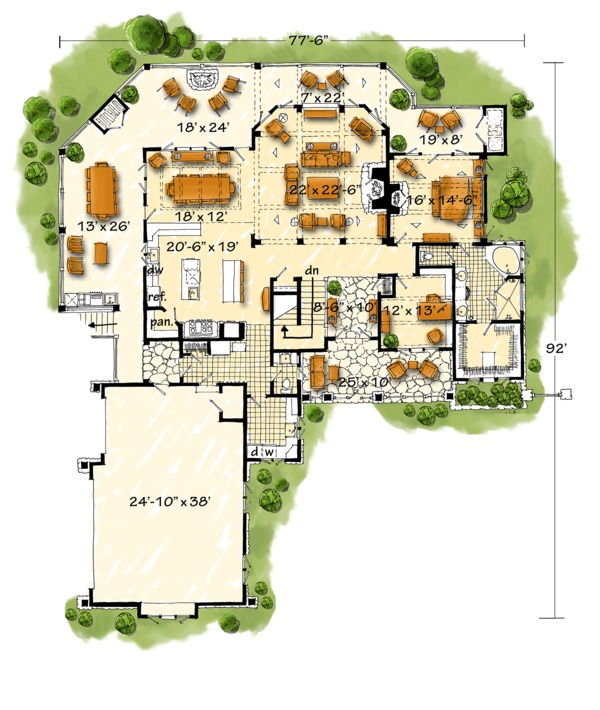 Log Style House Plan - 3 Beds 3.5 Baths 4100 Sq/Ft Plan #942-43 Floor Plan - Main Floor Plan