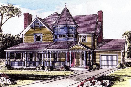 Victorian Exterior - Front Elevation Plan #315-105