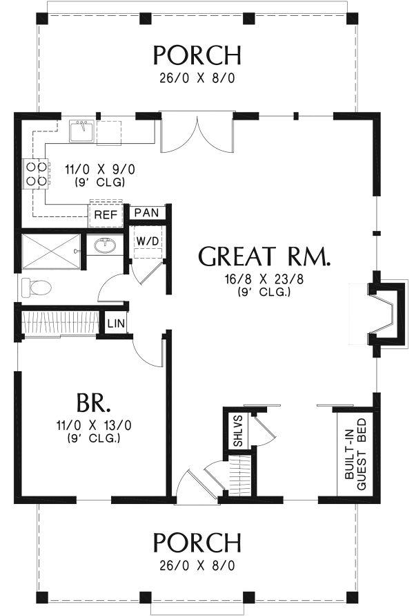 House Plan Design - Cottage Floor Plan - Main Floor Plan #48-951