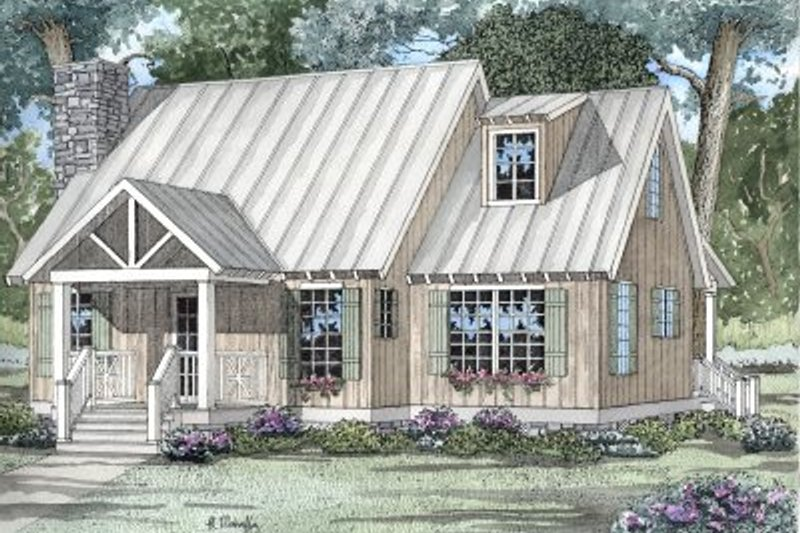 Country Style House Plan - 2 Beds 2 Baths 1425 Sq/Ft Plan #17-2021 Exterior - Front Elevation