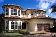 Mediterranean Style House Plan - 5 Beds 4.5 Baths 4224 Sq/Ft Plan #420-301 Exterior - Front Elevation