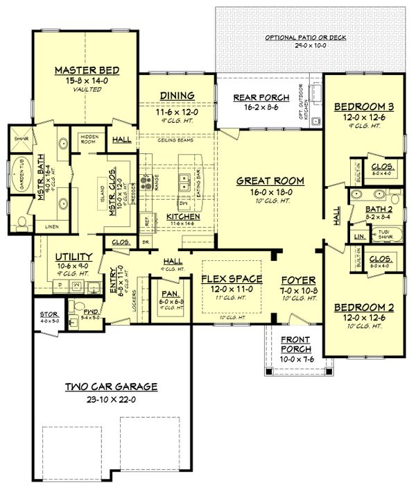 Craftsman Floor Plan - Main Floor Plan Plan #430-159