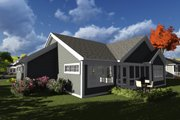 Ranch Style House Plan - 2 Beds 2 Baths 1540 Sq/Ft Plan #70-1237 Exterior - Rear Elevation