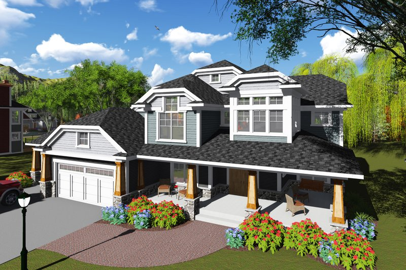 Dream House Plan - Craftsman Exterior - Front Elevation Plan #70-1255