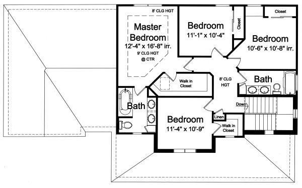 Traditional Floor Plan - Upper Floor Plan #46-496