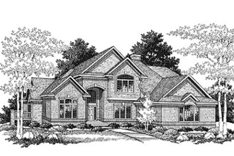 Traditional Style House Plan - 3 Beds 2.5 Baths 2510 Sq/Ft Plan #70-402 Exterior - Front Elevation