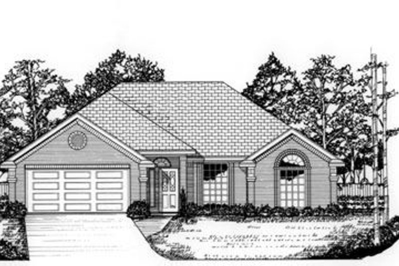 Traditional Style House Plan - 3 Beds 2 Baths 1665 Sq/Ft Plan #62-102 Exterior - Front Elevation