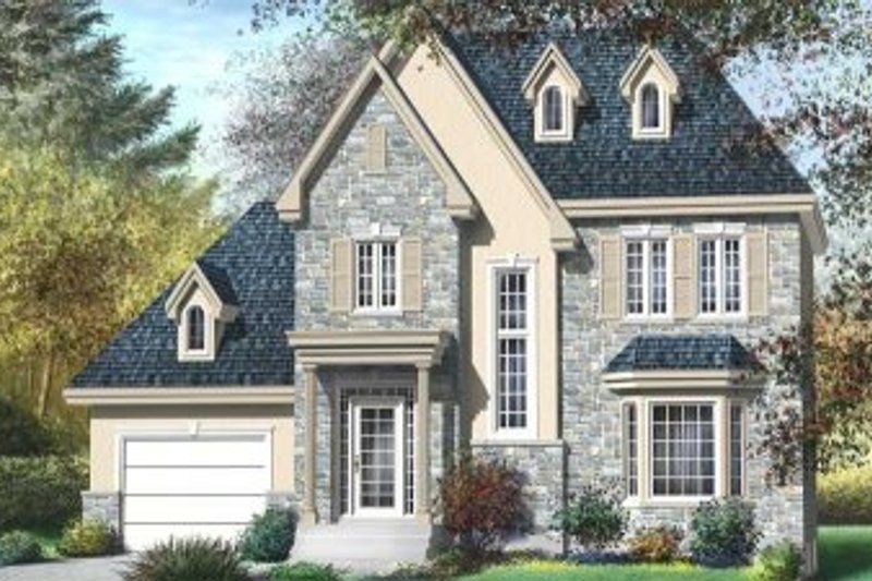 European Style House Plan - 3 Beds 1.5 Baths 1500 Sq/Ft Plan #25-4158 Exterior - Front Elevation