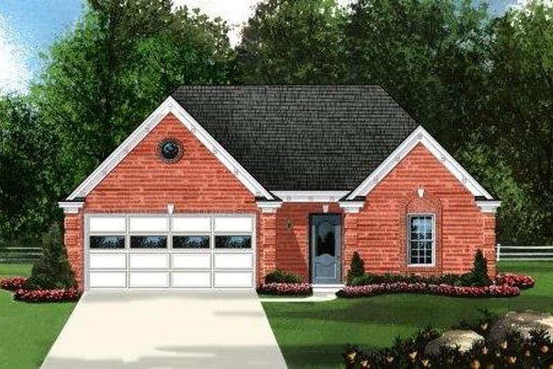 Traditional Style House Plan - 3 Beds 2 Baths 1448 Sq/Ft Plan #424-164 Exterior - Front Elevation