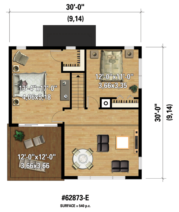 Contemporary Floor Plan - Upper Floor Plan #25-4599