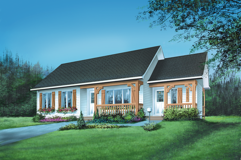 Ranch Style House Plan - 4 Beds 1 Baths 1092 Sq/Ft Plan #25-1087 Exterior - Front Elevation